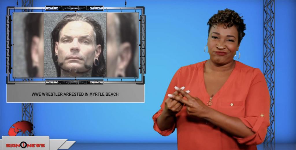Sign1News anchor Candace Jones - WWE wrestler arrested in Myrtle Beach (ASL - 7.15.19)