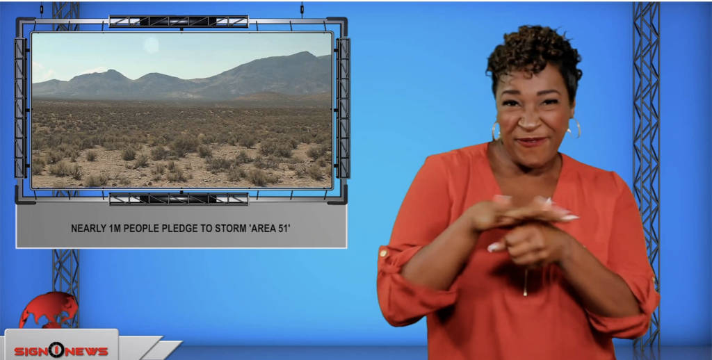 Sign1News anchor Candace Jones - Nearly 1m people pledge to storm 'Area 51' (ASL - 7.15.19)