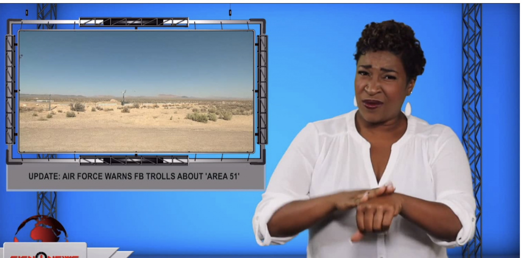 Sign1News anchor Candace Jones - Update: Air Force warns FB trolls about 'Area 51' (ASL - 7.16.19)