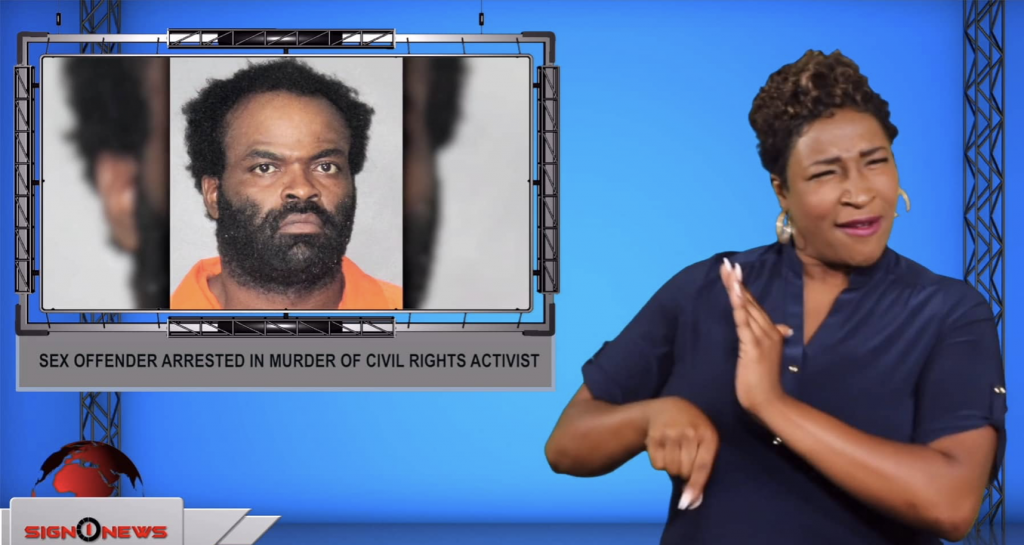 Sign1News anchor Candace Jones - Sex offender arrested in murder of civil rights activist (ASL - 7.17.19)