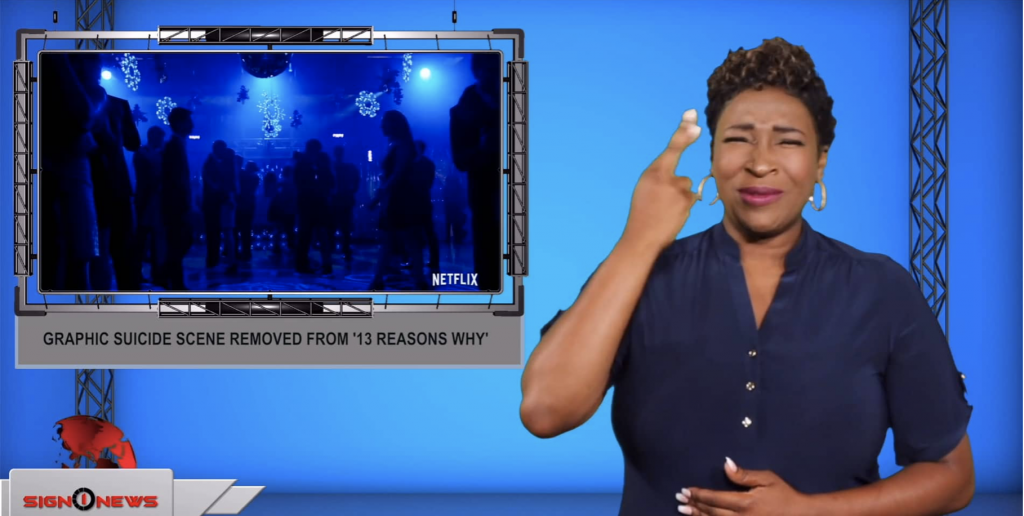 Sign1News anchor Candace Jones - Graphic suicide scene removed from '13 Reasons Why' (ASL - 7.17.19)