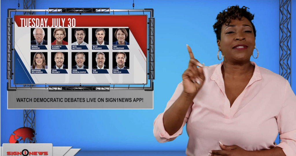 Sign1News anchor Candace Jones - Watch Democratic debates live on Sign1News app! (ASL - 7.29.19)