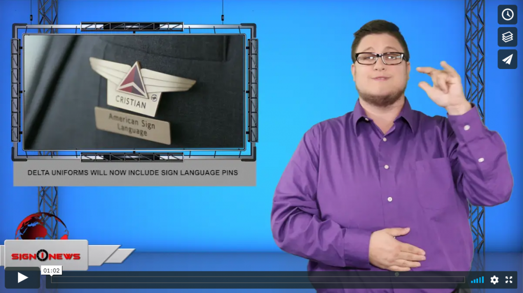 Sign 1 News with Jethro Wooddall - Delta uniforms will now include sign language pins (ASL - 7.30.19)