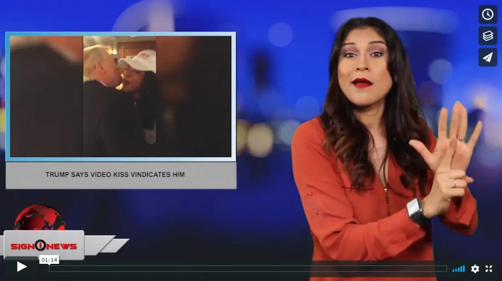 Sign 1 News with Crystal Cousineau - Trump says video kiss vindicates him (ASL - 7.13.19)