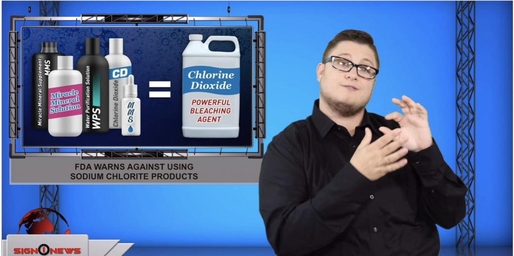 Sign1News anchor Jethro Wooddall - FDA warns against using sodium chlorite products (ASL - 8.15.19)