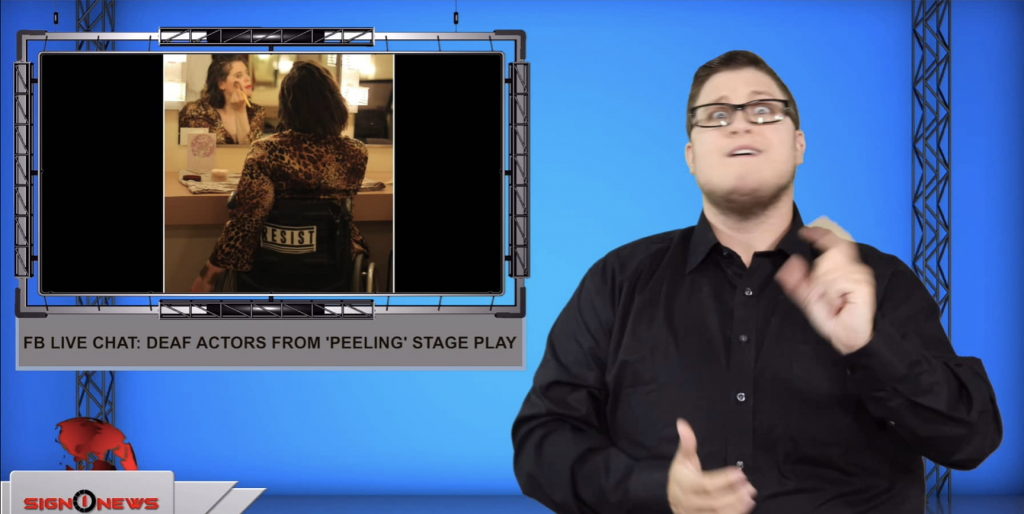Sign1News anchor Jethro Wooddall - FB live chat: Deaf actors from 'Peeling' stage play (ASL - 8.15.19)
