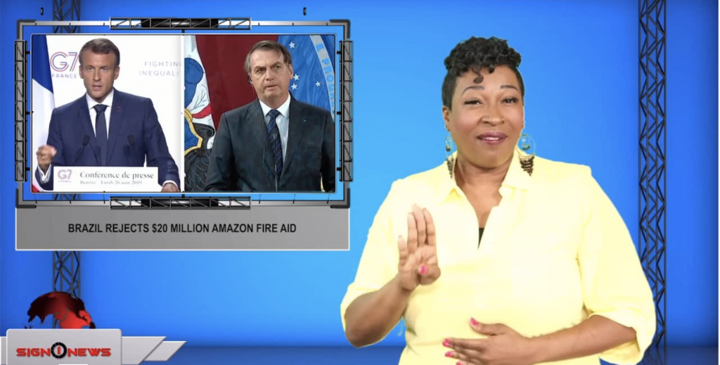 Sign1News anchor Candace Jones - Brazil rejects $20 million Amazon fire aid (ASL - 8.27.19)