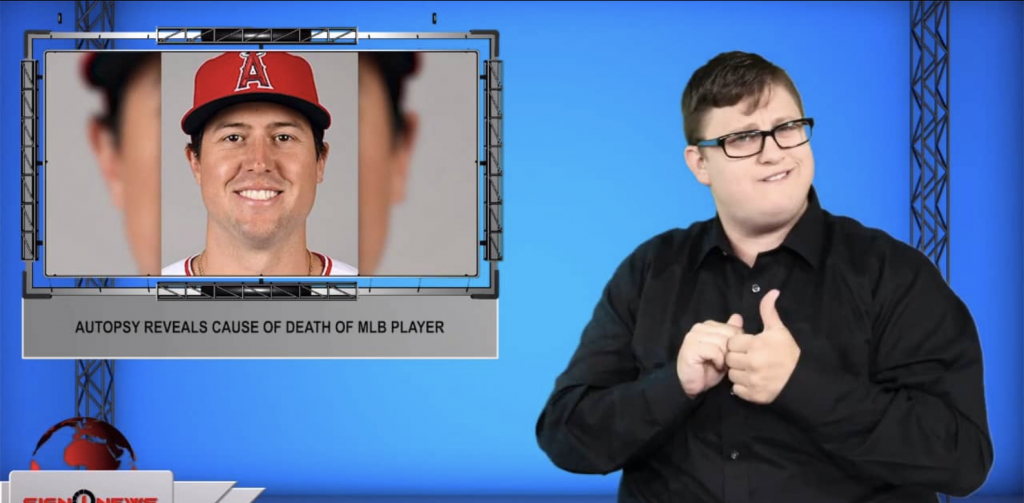 Sign1News anchor Jethro Wooddall - Autopsy reveals cause of death of MLB player (ASL - 8.31.19)