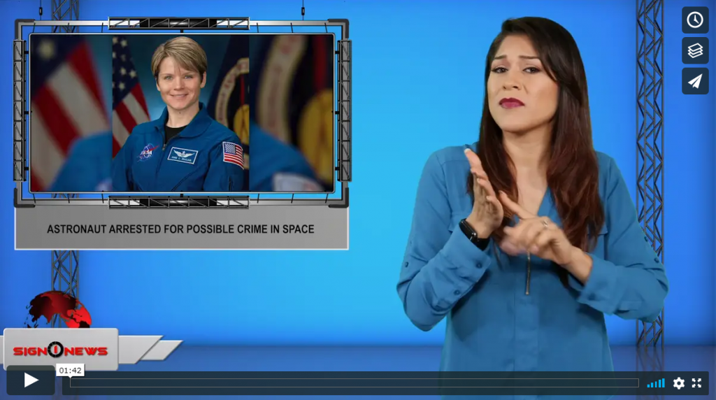 Sign 1 News with Crystal Cousineau - Astronaut arrested for possible crime in space (ASL - 8.25.19)
