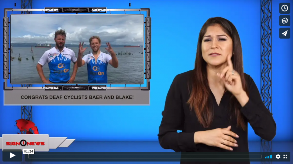 Sign 1 News with Crystal Cousineau - Congrats Deaf cyclists Baer and Blake! (ASL - 8.13.19)