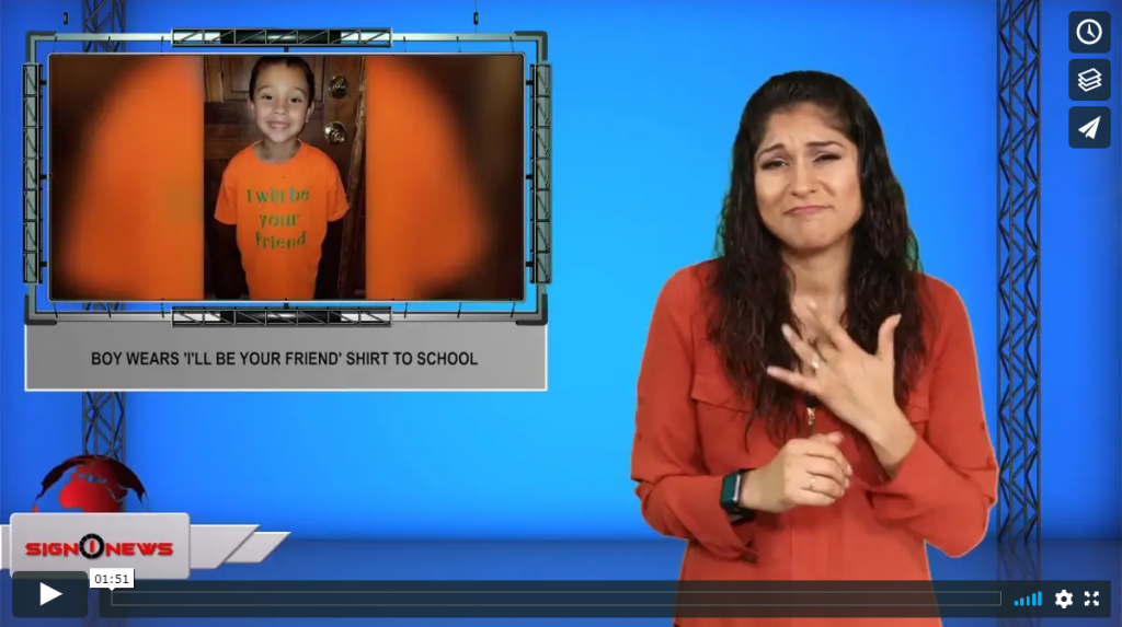 Sign 1 News with Crystal Cousineau - Boy wears 'I'll be your friend' shirt to school (ASL - 8.11.19)
