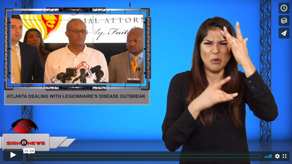 Sign 1 News with Crystal Cousineau - Atlanta dealing with Legionnaire's disease outbreak (ASL - 8.13.19)