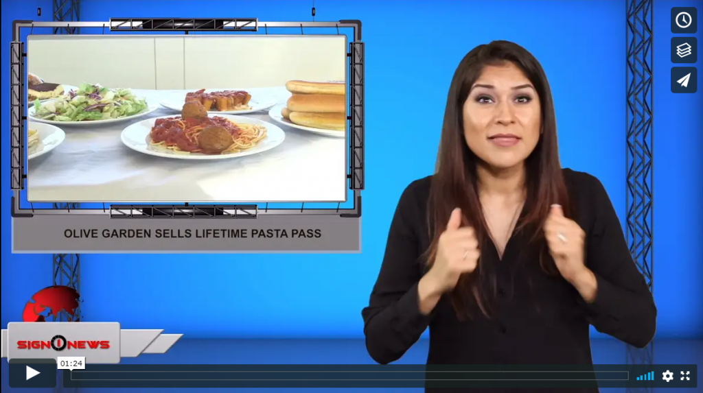 Sign 1 News with Crystal Cousineau - Olive Garden sells lifetime pasta pass (ASL - 8.13.19)