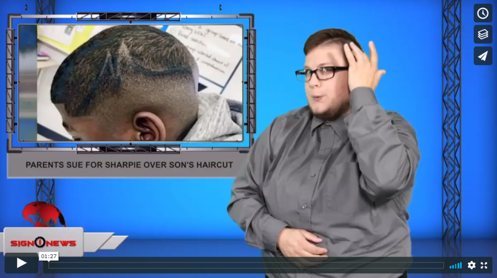 Sign 1 News with Jethro Wooddall - Parents sue for Sharpie over son's haircut (ASL - 8.21.19)