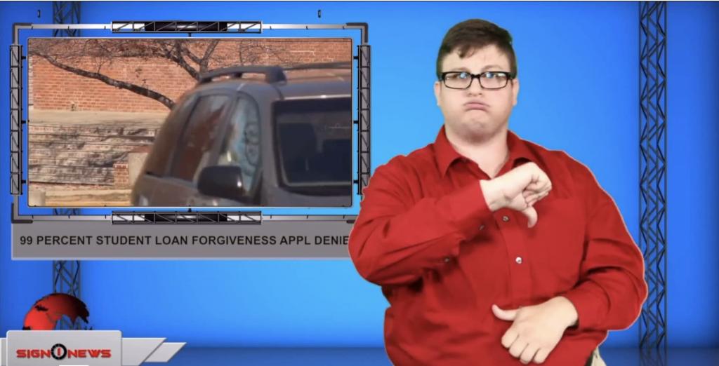 Sign1News anchor Jethro Wooddall - 99 percent student loan forgiveness appl denied (ASL - 9.6.19)