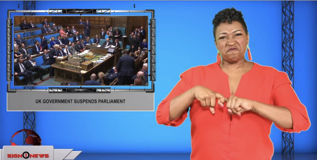 Sign1News anchor Candace Jones - UK government suspends parliament (ASL - 9.9.19)