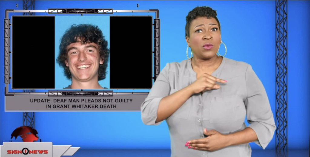 Sign1News anchor Candace Jones - Update: Deaf man pleads not guilty in Grant Whitaker death (ASL - 9.10.19)