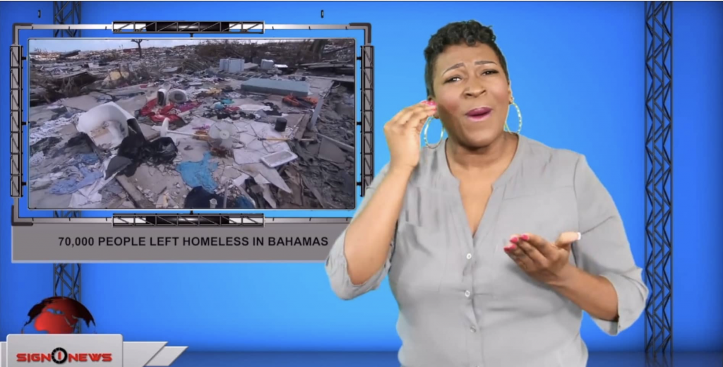 Sign1News anchor Candace Jones - 70,000 people left homeless in Bahamas (ASL - 9.10.19)
