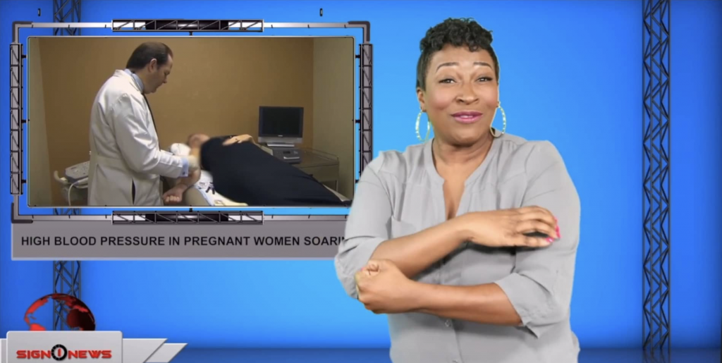 Sign1News anchor Candace Jones - High blood pressure in pregnant women soaring (ASL - 9.10.19)
