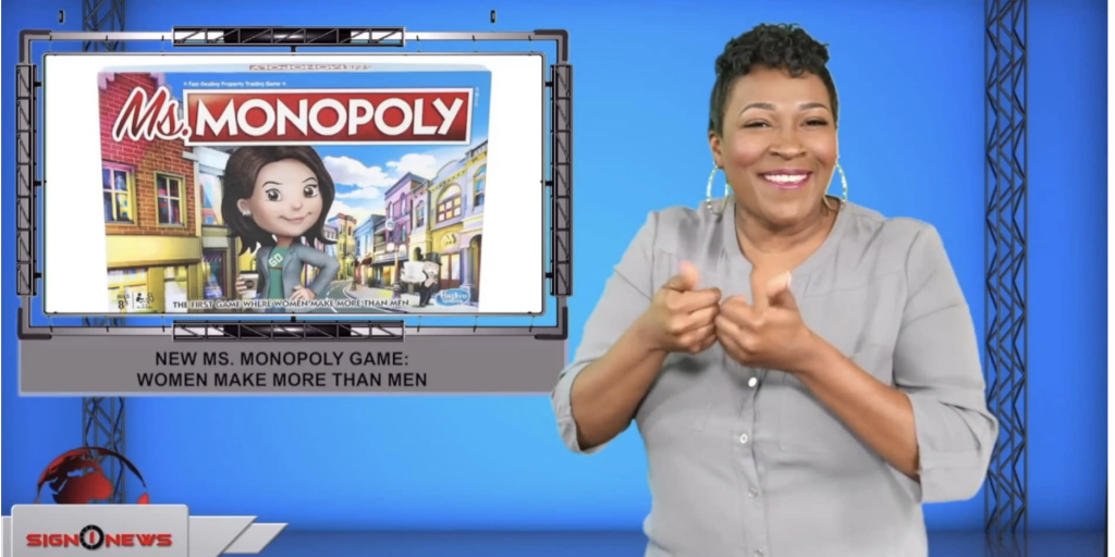 Sign1News anchor Candace Jones - New Ms. Monopoly game: Women make more than men (ASL - 9.10.19)