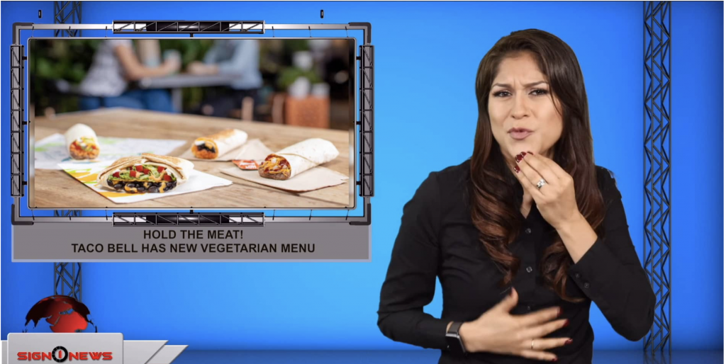 Sign1News anchor Crystal Cousineau - Hold the meat! Taco Bell has new vegetarian menu (ASL - 9.11.19)