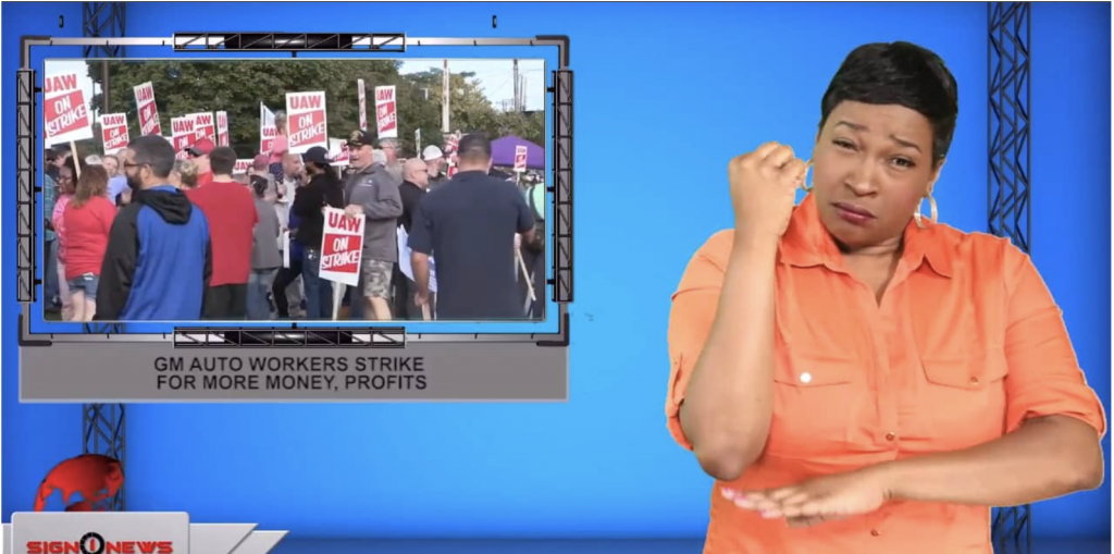 Sign1News anchor Candace Jones - GM Auto workers strike for more money, profits (ASL - 9.17.19)