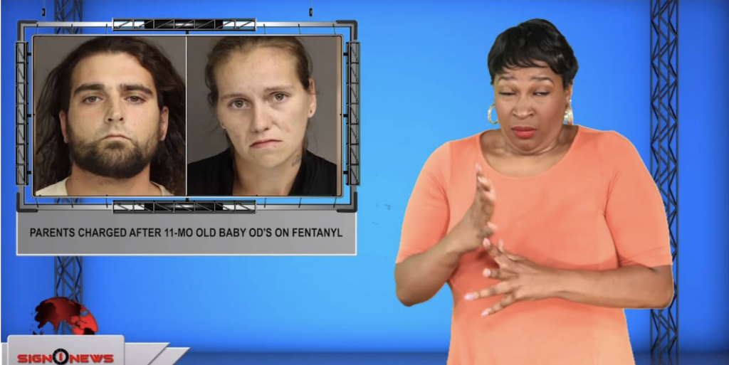 Sign1News anchor Candace Jones - Parents charged after 11-mo old baby OD's on fentanyl (ASL - 9.30.19)