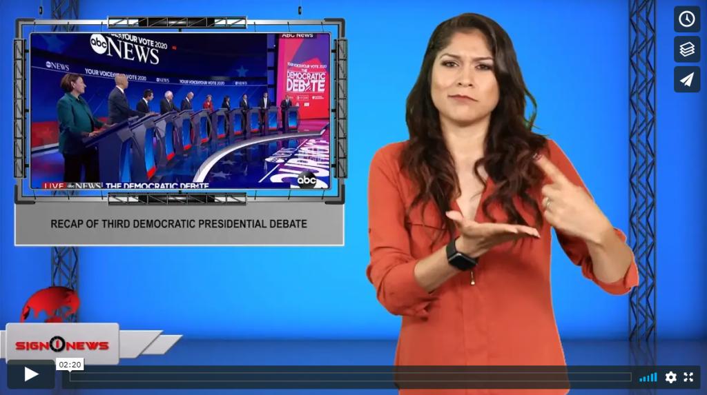 Sign 1 News with Crystal Cousineau - Recap of third Democratic presidential debate (ASL - 9.13.19)