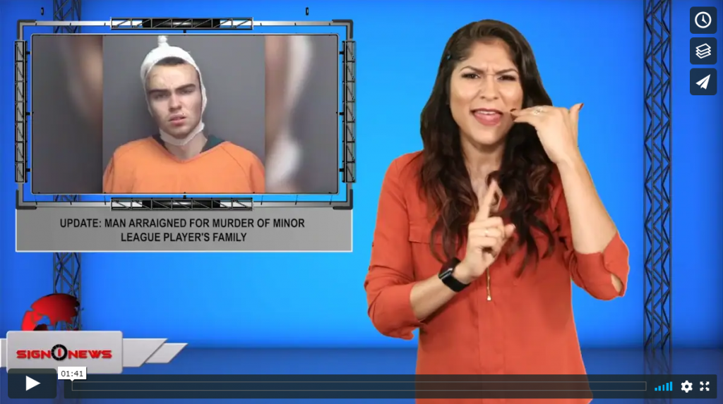 Sign 1 News with Crystal Cousineau - Update: man arraigned for murder of minor league player's family (ASL - 9.13.19)