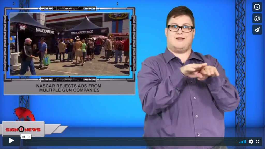 Sign 1 News with Jethro Wooddall - Nascar rejects ads from multiple gun companies (ASL - 9.14.19)