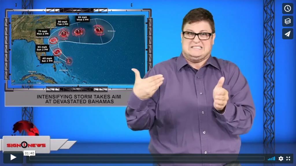 Sign 1 News with Jethro Wooddall - Intensifying storm takes aim at devastated Bahamas (ASL - 9.14.19)