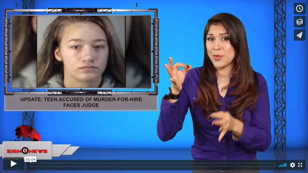 Sign 1 News with Crystal Cousineau - Update: teen accused of murder-for-hire faces judge (ASL - 9.12.19)