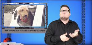 Sign1News anchor Jethro Wooddall - Uber offers new feature to travel with pets (ASL - 10.10.19)