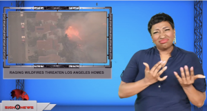 Sign1News anchor Candace Jones - Raging wildfires threaten Los Angeles homes (ASL - 10.12.19)