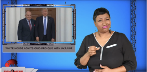 Sign1News anchor Candace Jones - White House admits quid pro quo with Ukraine (ASL - 10.18.19)