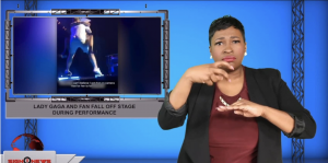 Sign1News anchor Candace Jones - Lady Gaga and fan fall off stage during performance (ASL - 10.19.19)