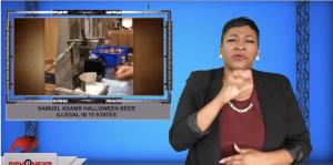 Sign1News anchor Candace Jones - Samuel Adams Halloween beer illegal in 15 states (ASL - 10.19.19)