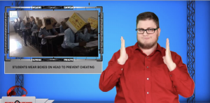Sign1News anchor Jethro Wooddall - Students wear boxes on head to prevent cheating (ASL - 10.21.19)