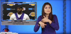 Sign1News anchor Crystal Cousineau - LeBron James sends taco truck for firefighters (ASL - 10.30.19)