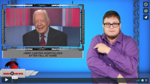 Sign 1 News with Jethro Wooddall - Jimmy Carter hospitalized after fall at home (ASL - 10.22.19)