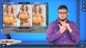 Sign 1 News with Jethro Wooddall - There's a Popeye's chicken sandwich costume (ASL - 10.22.19)