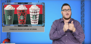 Sign1News anchor Jethro Wooddall - Starbucks' holiday cups are returning (ASL - 11.6.19)