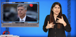 Sign1News anchor Crystal Cousineau - White House concerned about Taylor testimony (ASL - 11.7.19)