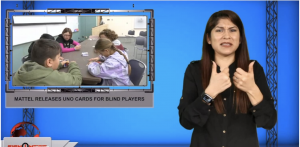 Sign1News anchor Crystal Cousineau - Mattel releases UNO cards for blind players (ASL - 11.7.19)