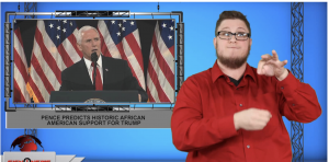 Sign1News anchor Jethro Wooddall - Pence predicts historic African American support for Trump (ASL - 11.9.19)