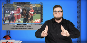 Sign1News anchor Jethro Wooddall - NFL teams invited to watch Colin Kaepernick private workout (ASL - 11.14.19)