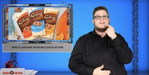 Sign1News anchor Jethro Wooddall - Mars is launching vegan milk chocolate bar (ASL - 11.14.19)