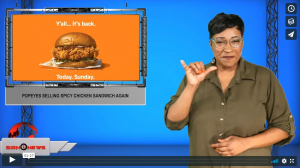 Sign 1 News with Candace Jones - Popeyes selling spicy chicken sandwich again (ASL - 11.4.19)