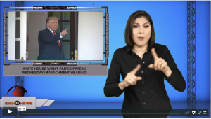Sign1News anchor Crystal Cousineau - White House won't participate in Wednesday impeachment hearing (ASL - 12.2.19)