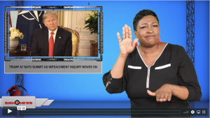 Sign1News anchor Candace Jones - Trump at NATO summit as impeachment inquiry moves on (ASL - 12.3.19)
